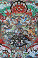 "RARE! BLESSED 26"" SILKPRINT THANGKA SCROLL: SAMSARA BHAVACHAKRA, WHEEL OF LIFE ="