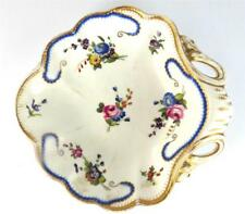 ANTIQUE DAVENPORT PORCELAIN SERVING DISH FLOWERS BLUE GOLD BORDER SEVRES STYLE