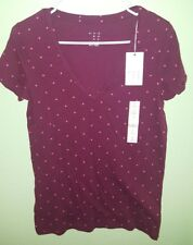 A New Day - Woman's V-Neck Polka Dot Shirt (Burgundy/Pink, S)