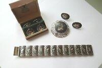 Vintage Sterling Silver Siam Thai Nako Lot Brooch Bracelet Earrings Cuff Links