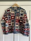 CO17 Heirloom Collectibles Patriotic Sweater Red White Blue Womens Small