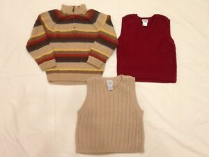 Gymboree 1/4 Zip Sweater Lot Of 3 Boy's Size 4 Sweaters Two Sweater Vests Gap