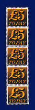 More details for 1973 sg d89 £5 orange-yellow and black z63 strip (5) good used deib