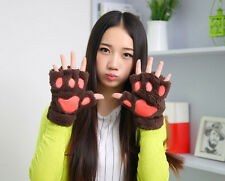 New Arrival LadiesFluffy Bear Cat Plush Paw Claw Glove Coffee New Ship in USA