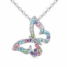 18K Gold GP Multi Colorful Butterfly Swarovski Crystals Pendant Chain Necklace