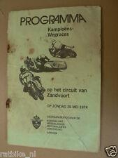 1974 ZANDVOORT KAMPIOENS WEGRACES 26 MEI 1974  PROGRAMMA
