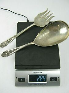 Lot of (1) Large Spoon & (1) Large Fork Sterling Silver 284g Hallmarked 800