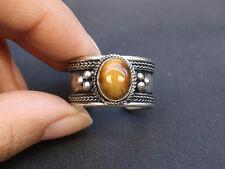 Gemstone Weaving Dotted Amulet Ring Large Adjustable Tibetan Oval Tiger Eye