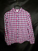 Columbia L Purple Blue Pink Plaid Flannel Shirt Womens Cotton Long Sleeve Button