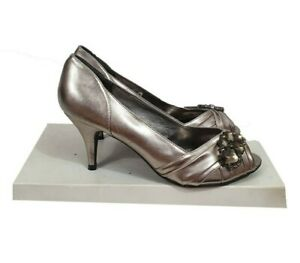 NEW LOOK Shoes Size 5 Dark Silver w/Jewel PeepToe Party Evening Cocktail Holiday