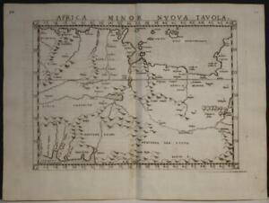 ALGERIA TUNISIA LIBYA 1564 PTOLEMY & RUSCELLI SCARCE ANTIQUE COPPER ENGRAVED MAP