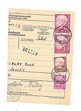 Bund Paketkartenstammteil Heussfrankatur nach England mit MiNr. 196 im Paar