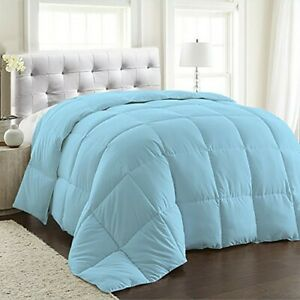 300 GSM (GRAMS PER SQUARE METER) 100% EGYPTIAN COTTON COMFORTER SOLID SKY BLUE