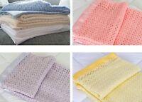 Acrylic Cellular Blanket Lightweight Weave Satin bordered Trim Wool Alternative