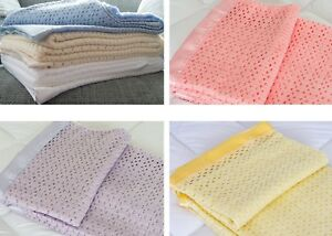 Lightweight Acrylic Cellular Blanket With Satin Ribbon Trim in 6 Colours