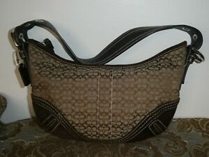 Women's Brown Coach Small Shoulder Fabric Suede Trim Purse Handbag H052-2154