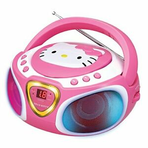 Hello Kitty Portable Stereo CD Boombox with AM/FM Radio Speaker and LED Light...