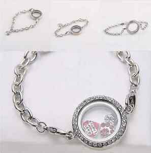 Fashion Round Crystal Silver Plated Floating Charm Memory living Locket Bracelet