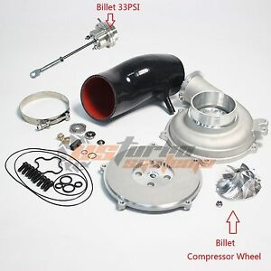 Ford Powerstroke 7.3L GTP38 4'' Compressor Cover Kit Billet Wheel 33PSI Actuator