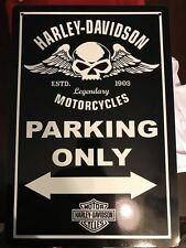 New Harley Davidson 12x 18 Aluminum Garage Parking Only Sign - Man Cave - Motorc