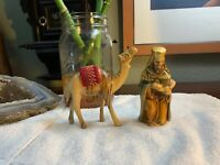 Camel Statue Vintage Carved Wood Nativity King Made In Japan LOT Of 2 Figures