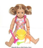 Yellow Beach Bucket Play Set 4PC 18 in American Girl Doll Clothes Accessory
