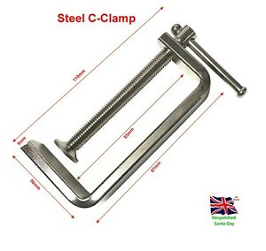 "3"" Steel C-Clamp Heavy Duty Steel 63mm Jaw capacity Hobby Etc"