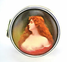COLLECTABLE ROUND VICTORIAN STYLE NUDE LADY ENAMEL PILL BOX 925 STERLING SILVER