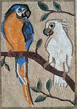 "24""x 16"" Handmade Two Parrots Arbor Tree Garden Nature Decor Art Marble Mosaic"