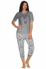 Damen Capri Pyjama Rundhals Kurzarm Hose Allover 65163 Übergröeßen