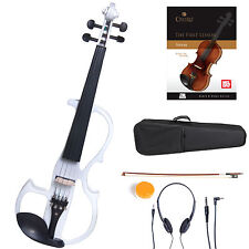 Cecilio Size 4/4 Electric Violin Ebony Fitted ~ White Style2