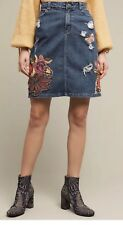 NEW Cecilia Prado Floral Butterfly Embroidered Denim Skirt Size Small