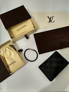 Louis Vuitton Damier Graphite Authentic Pocket Organizer Wallet & Bracelet Set