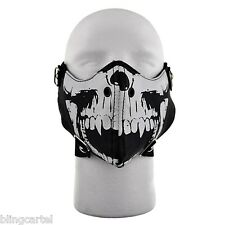 Motorcycle Fang Skull Black & White Cosplay Bicycle Bike Biker Half Face Mask