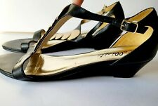 """Bellini; Women's 9W; Black / Gold Accent; Wedge approx. 1.5""""; strap adjustable"""