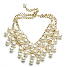 2 Broke Girls inspired Gold and Cream Pearl pendant Chain necklace HY