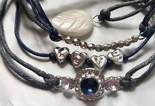 NWT Gemma Simone Navy Blue Vegan Friendship Love Silver Charm Bracelet 6-Set Adj