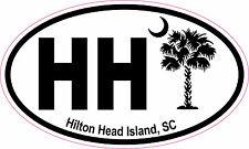 Hilton Head Island Palm Oval Vinyl Sticker Decal 5x3