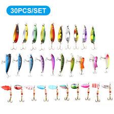 30Pcs Lot Mixed Minnow Fishing Lures Bass Baits Crankbaits Fish Hooks Tackle Kit