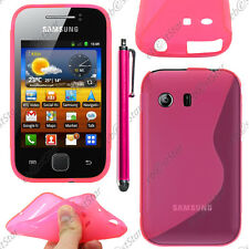 Housse Etui Coque Silicone Motif S-line Gel Rose Samsung Galaxy Y S5360 + Stylet