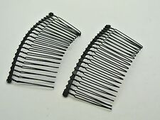 10 Black Metal Wire Hair Side Combs Clips 76X37mm for DIY Craft