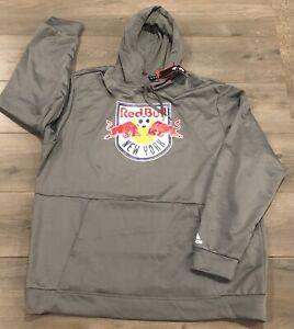 New York Red Bulls MLS Soccer Adidas Gray Hoodie Pullover Sweatshirt - Size XXL