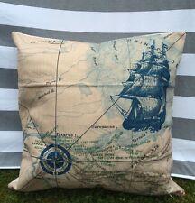 Ship & Map Cushion Cover, Designer, Nautical, Seaside, Blue, Luxury, Ocean