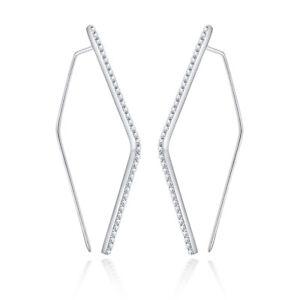 Solid 18K White Gold 100% Genuine 1.3ct Moissanite Fashion Generous Earrings