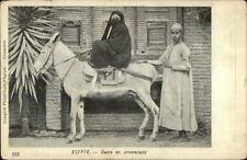 Egypt Native Muislim Woman Covered Face on Donkey c1905 Postcard