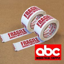 """2 ROLL 2"""" FRAGILE PRINED SHIPPING PACKAGING HAL TAPE 330 Feet 110 yards"""