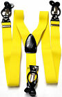 New in box Men's suspender yellow elastic braces clips buttons casual prom