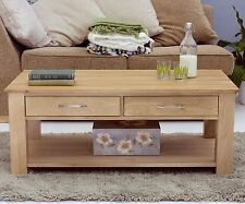 Mobel Solid Oak Furniture 4 Drawer Coffee Table Medium and Pad