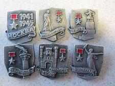 Russian Soviet Set of 6 Pins Hero Soviet Union City Moscow Kiev Volgograd WWII