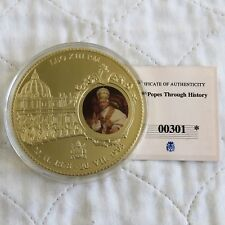 More details for 2012 pope leo xiii 70mm large gold plated coloured proof medal - coa